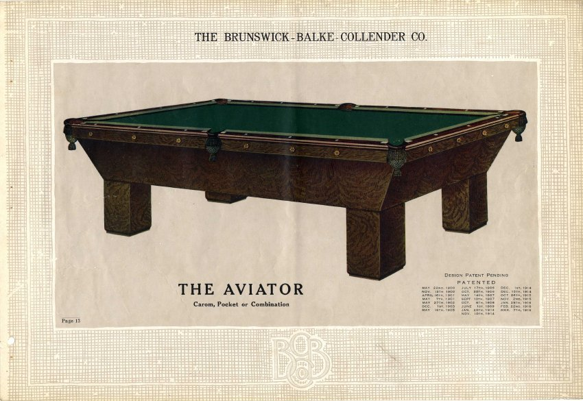 Catalog Mail Order - Brunswick chateau pool table