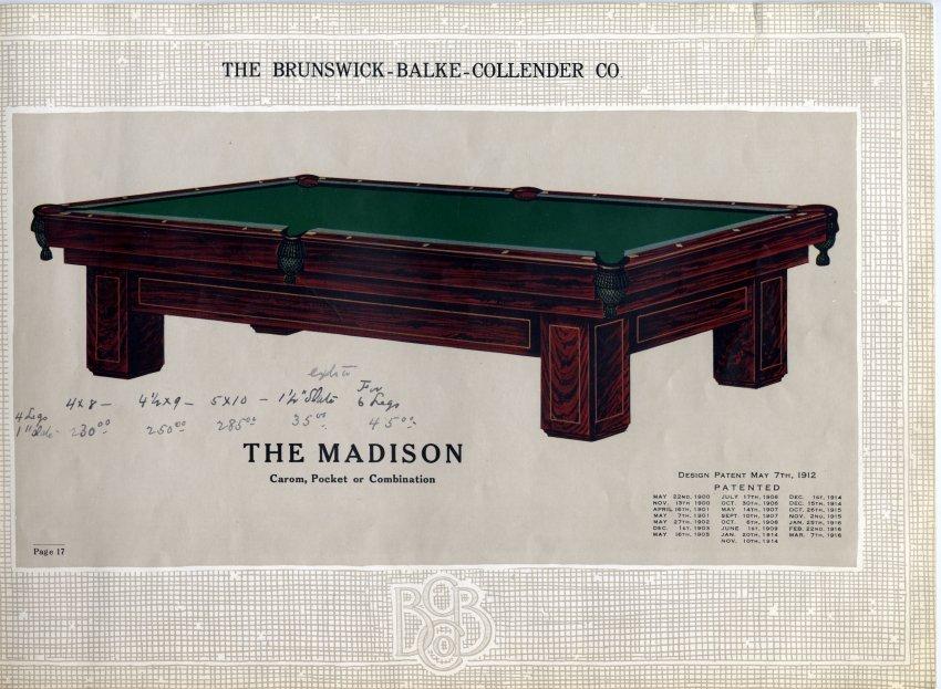 Catalog Mail Order - Brunswick madison pool table