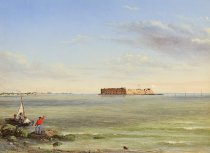 Image of PAINTING - Forts Sumter & Johnson Mar. 5 1864 [Previous title: Forts Sumter & Johnson Mar. 15 1864]