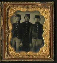 Image of Ambrotype - Unidentified Group  (Three Soldiers)
