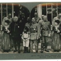 Image of Stereoview - Marshall Foch, General Pershing, Madame Joffre, Marshal Joffre, and General Dubail at Paris