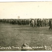 Image of Print, Photographic - Colored Troops being reviewed November 9th, Camp Custer