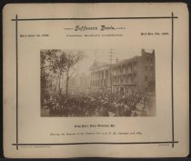 Image of Print, Photographic - City Hall, New Orleans, La.: Bearing the Remains to the Funeral Car 12:30 P.M., December 11th, 1889