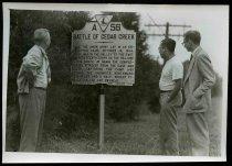 Image of Copy Print - Milhollen, Koplan, and Donald viewing Battle of Cedear Creek marker