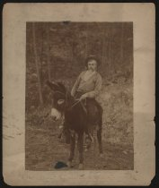 Image of Print, Albumen - Charles Young on a donkey