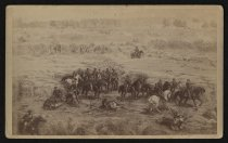 Image of Photograph, Cabinet - Gen. W. S. Hancock and staff - from Views from the Battle of Gettysburg Cyclorama, painted by Paul Philippotaux