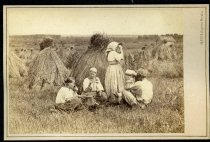 Image of Photograph, Cabinet - Three Unidentified Women and One Unidentified Civilian with haystacks