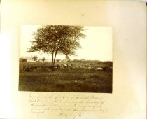 "Image of Albumen - View from the position of Pickett's Battery, East Cemetery Hill, showing the lunettes of Weidrick's Battery and the remains of the stone wall over which ""The Louisiana Tigers charged. Gettysburg, Pa."