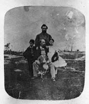 Image of Negative, Glass Plate - Davis Children with Uncle Joseph Davis and servant Robert Brown