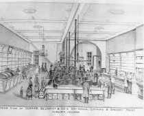 Image of Interior Drawing of Schaab, Beugnot & Company Dry Goods Store - Eckhart Public Library Photo Collection