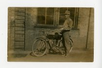 Image of Man on Thor Motorcycle - John Martin Smith Postcard Collection