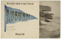 Image of Greeting card of a Pennant and Cliff overlooking the sea - John Martin Smith Postcard Collection