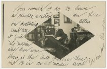 Image of Man Reading a Paper in his Study Postcard - John Martin Smith Postcard Collection