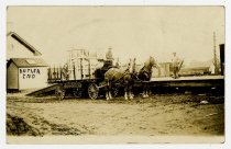 Image of Butler Company Horses and Wagon at Loading Dock - Butler, Indiana - John Martin Smith Postcard Collection