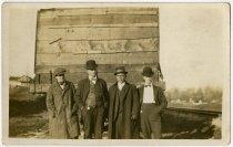 Image of Four Men and a Rail Car Postcard - John Martin Smith Postcard Collection