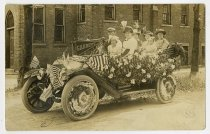 Image of Automobile decorated with flags and flowers - John Martin Smith Postcard Collection