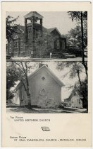 Image of Two Churches in Waterloo, Indiana Postcard M.E. Church in Waterloo, Indiana Postcard - John Martin Smith Postcard Collection