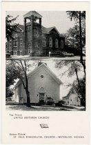 Image of Two Churches in Waterloo, Indiana Postcard