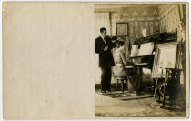 Image of Couple Playing Music Photo Postcard - John Martin Smith Postcard Collection