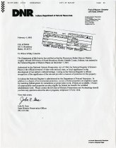 Image of Letter: Indiana Department of Natural Resources to City of Butler, IN - John Martin Smith Miscellaneous Collection