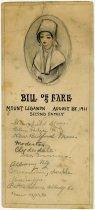 Image of Bill of Fare, Mount Lebanon, August 28, 1911 - John Martin Smith Shaker Collection