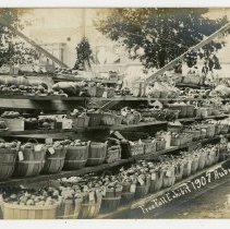 Image of Auburn Fall Festival 1907- Five Rows of Baskets of Vegetables - John Martin Smith Postcard Collection