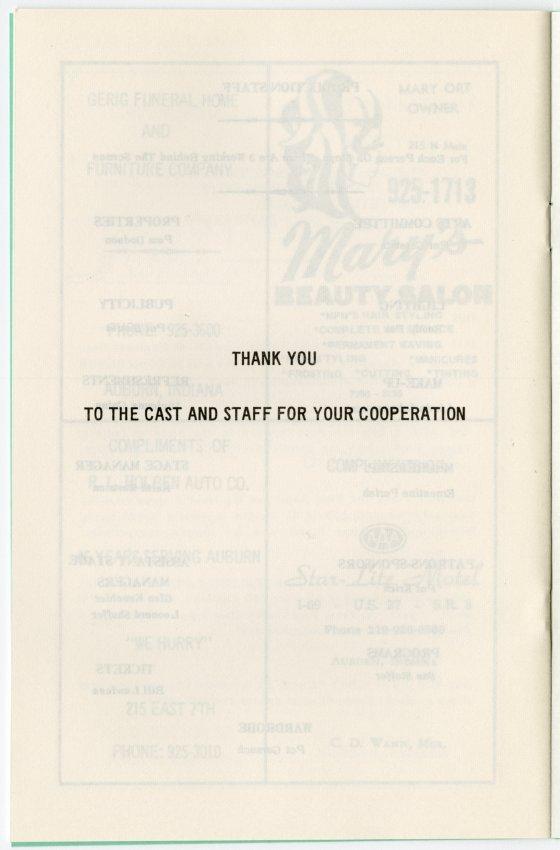 ACT I Theatre Program; 1973-74 Season; Pure As The Driven