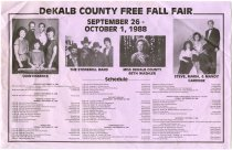 Image of Schedule for DeKalb County Free Fall Fair, Sept. 26 - Oct. 1, 1988 - John Martin Smith DeKalb County Fair Collection