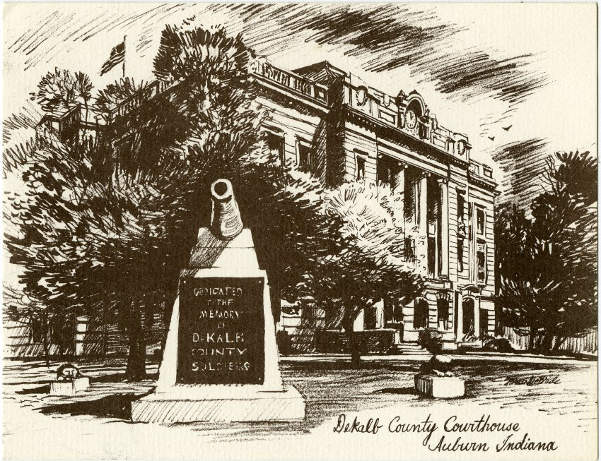 Astonishing Sketch Of Dekalb County Courthouse Auburn Indiana John Download Free Architecture Designs Scobabritishbridgeorg