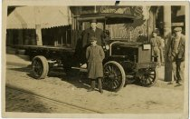 Image of Boy and man posing with flat bed truck - John Martin Smith Miscellaneous Collection