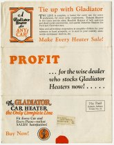Image of Gladiator Maunfactoring Brochure for Automobile Heaters - John Martin Smith Miscellaneous Collection