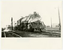 Image of B&O Steam Locomotive passing Garrett Depot Station - John Martin Smith Miscellaneous Collection