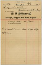 Image of Letter from W. H. Kiblinger Company Goods to Richwine & Kline - John Martin Smith Miscellaneous Collection