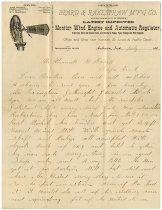 Image of G.M. Beard Letter about a Windmill - John Martin Smith Miscellaneous Collection