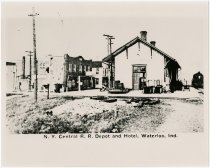 Image of New York Central railroad depot and Waterloo hotel - John Martin Smith Miscellaneous Collection