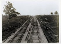 Image of Looking east on railroad tracks in Corunna, Indiana, on June 16, 1906.   - John Martin Smith Miscellaneous Collection