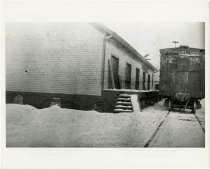 Image of Freight car sitting outside a depot in Auburn, Indiana, January, 1918 - John Martin Smith Miscellaneous Collection