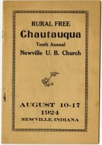 Image of Rural Free Chautauqua Tenth Annual Newville U. B. Church - John Martin Smith Indiana Imprints Collection