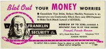 Image of Franklin Security Company Ink Blotter - John Martin Smith Miscellaneous Collection