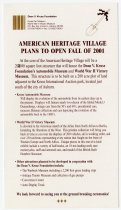 Image of AMERICAN HERITAGE VILLAGE PLANS TO OPEN FALL OF 2001 Advertisement - John Martin Smith Miscellaneous Collection