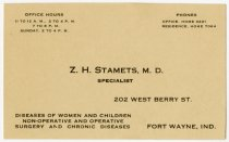 Image of Z. H. Stamets, M.D. Business Card - John Martin Smith Miscellaneous Collection