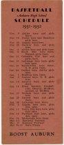 Image of Auburn High School basketball schedule, 1931-32 - John Martin Smith Miscellaneous Collection