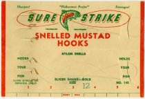 Image of Display card for Sure Strike Snelled Mustad Hooks - John Martin Smith Miscellaneous Collection