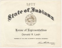 Image of 1977 Certificate from the State of Indiana - Extraordinary Hoosiers: Don Lash Collection