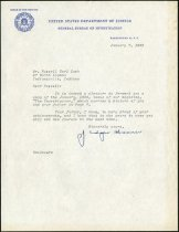 Image of Letter to Russel Earl Lash from J. Edgar Hoover - Extraordinary Hoosiers: Don Lash Collection