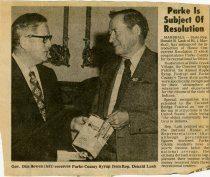 "Image of ""Parke is Subject of Resolution"" newspaper clipping - Extraordinary Hoosiers: Don Lash Collection"