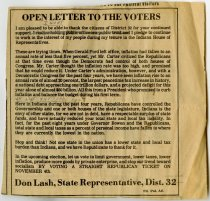 "Image of ""Open Letter To The Voters"" newspaper clipping - Extraordinary Hoosiers: Don Lash Collection"