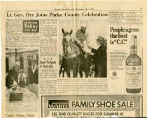 """Image of """"Lt. Gov. Orr Joins Parke County Celebration"""" newspaper article - Extraordinary Hoosiers: Don Lash Collection"""