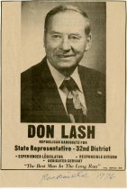 Image of Newspaper ad for Don Lash's candidacy for State Representative, 1976 - Extraordinary Hoosiers: Don Lash Collection