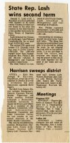 """Image of """"State Rep. Lash wins second term"""" newspaper clipping - Extraordinary Hoosiers: Don Lash Collection"""
